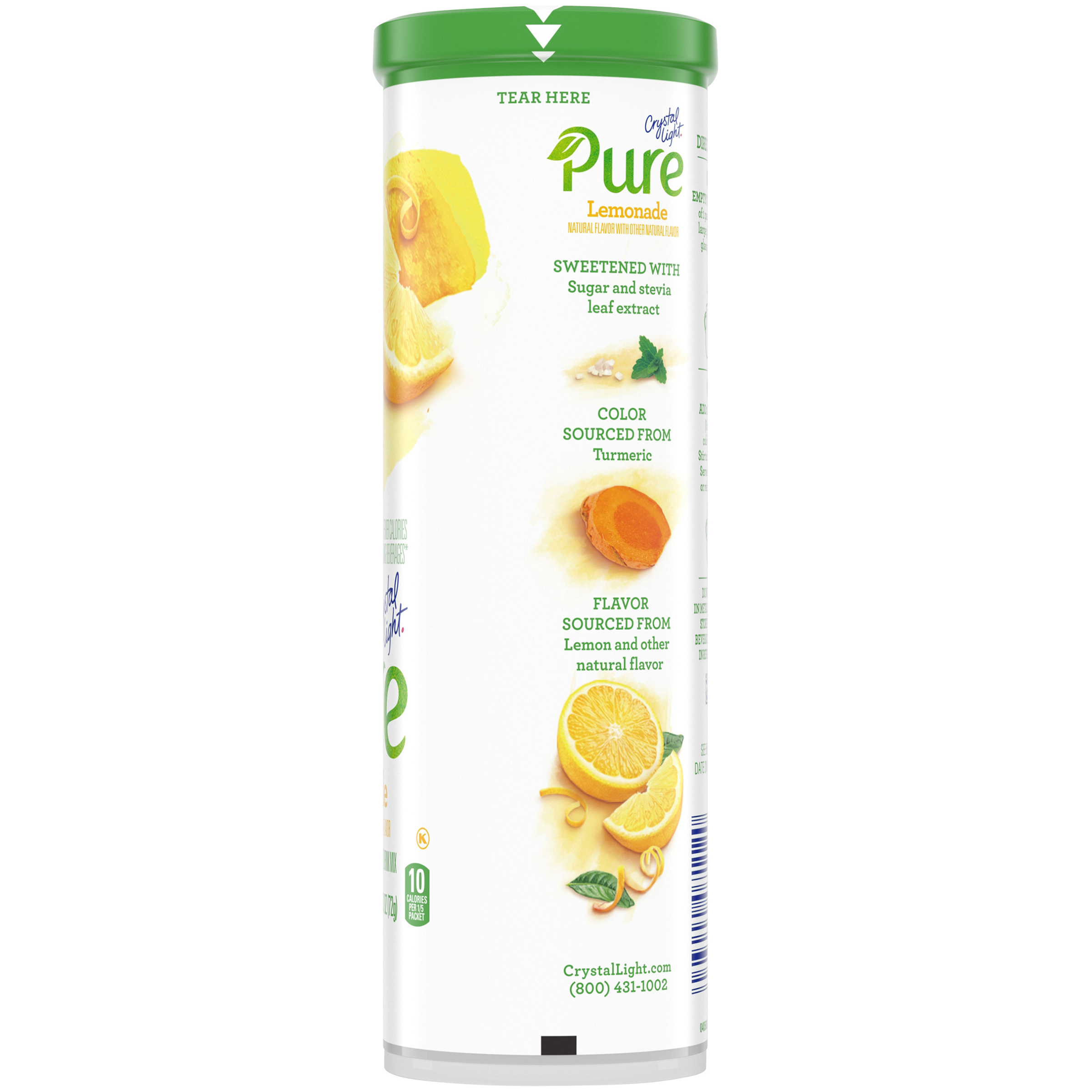 Crystal Light Pure Lemonade Drink Mix, 5 Pitcher Packets, 2.53 oz Canister