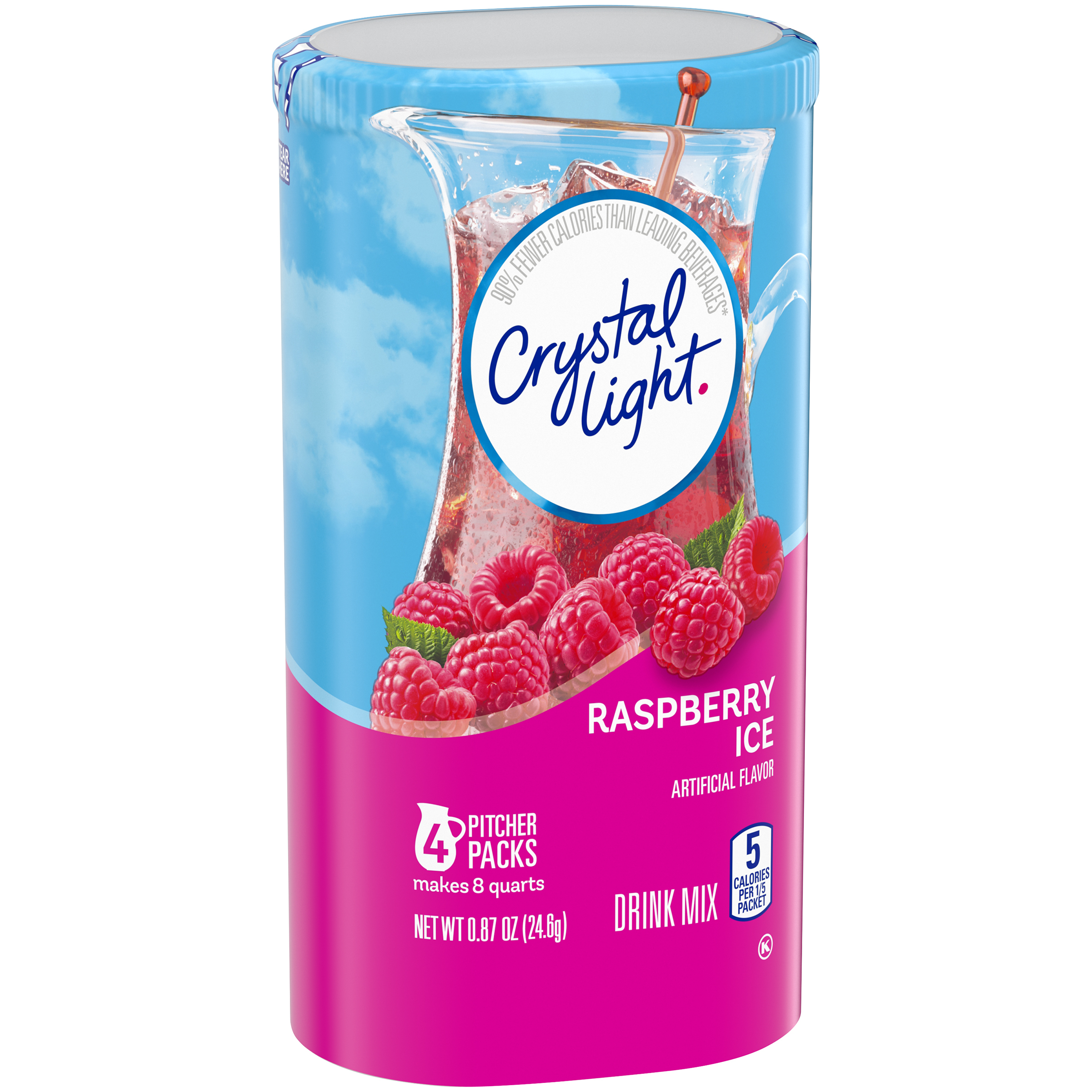 Crystal Light Sugar-Free Raspberry Ice Drink Mix, 4 Pitcher Packets, 0.87 oz Canister